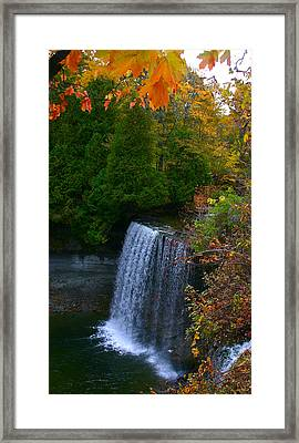 Fall Waterfall Framed Print by Shirley Mailloux