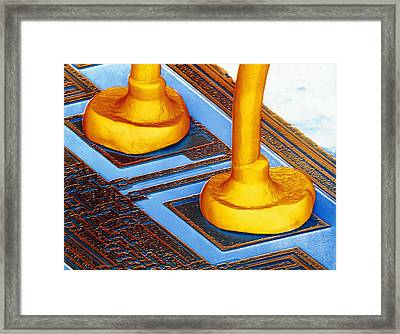 False-colour Sem Connector Wires On Silic Framed Print by Dr Jeremy Burgess