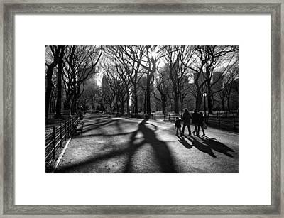 Family At Central Park In New York City Framed Print by Ilker Goksen