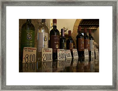 Famous Tuscan Wines For Sale At A Local Framed Print by Heather Perry