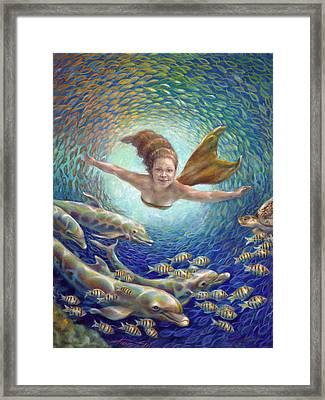 Fantastic Journey II - Mermaid Framed Print by Nancy Tilles