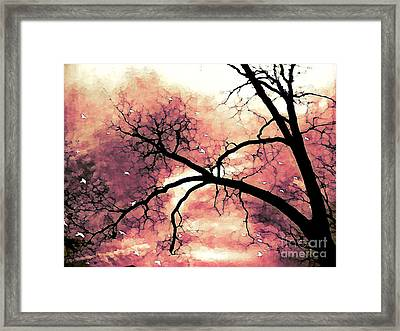 Fantasy Surreal Gothic Orange Black Tree Limbs  Framed Print by Kathy Fornal