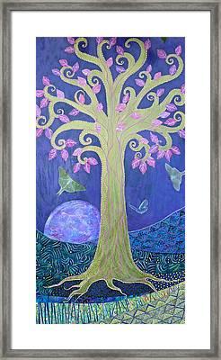 Fantasy Tree On Full Blue Moon Framed Print by Teresa Grace Mock