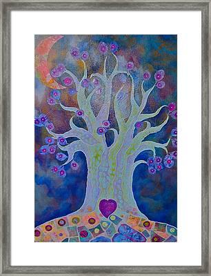 Fantasy Tree On Night Blue Framed Print by Teresa Grace Mock
