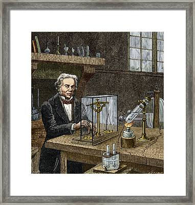 Faraday's Electrolysis Experiment, 1833 Framed Print by Sheila Terry