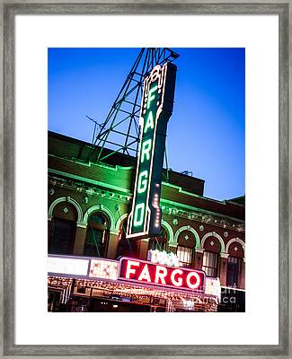 Fargo Nd Theatre Marquee At Night Photo Framed Print by Paul Velgos