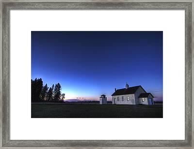 Farm House In Field At Sunset, Fort Framed Print by Dan Jurak