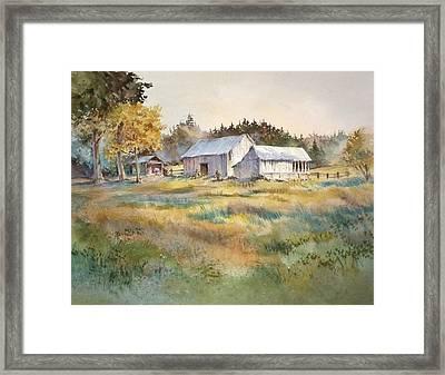Farm On Denman Island Framed Print by Grant Fuller