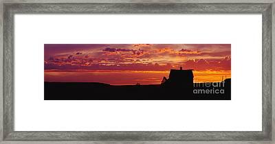 Farm Sunset Framed Print by Joe Sohm and ChromoSohm and Photo Researchers
