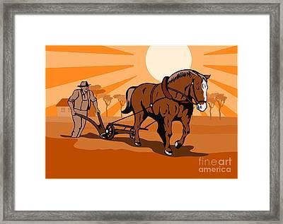 Farmer And Horse Plowing Farm Retro Framed Print by Aloysius Patrimonio
