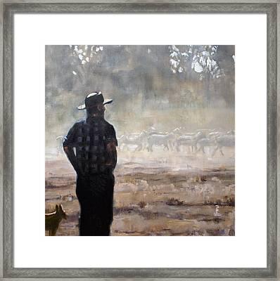 Farmer And Sheep Framed Print by Gaye White