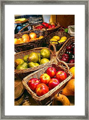 Farmer's Market Fruit Stand With Wicker Baskets Framed Print by Olivier Le Queinec