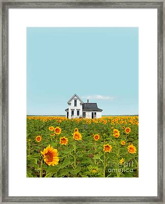 Farmhouse In A Field Of Sunflowers Framed Print by Jill Battaglia