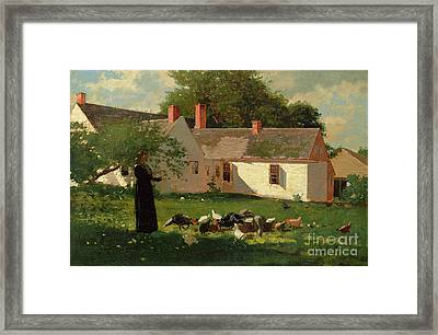 Farmyard Scene Framed Print by Winslow Homer