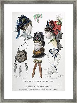 Fashion: Hats, C1875 Framed Print by Granger