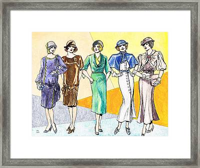 Fashions Ladies 1920s And 1930s Framed Print by Mel Thompson