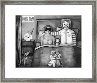 Fast Food Nightmare Bw Framed Print by Leah Saulnier The Painting Maniac