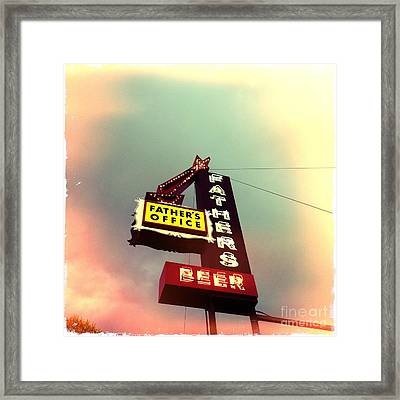 Father's Office Beer Framed Print by Nina Prommer