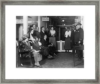 Federal Employees In Waiting In White Framed Print by Everett