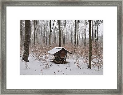 Feed Box In Winterly Forest Framed Print by Matthias Hauser