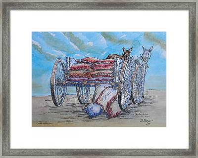 Feed Wagon Watercolor Framed Print by Charles Sims and Warren Thompson