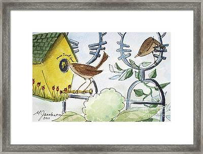 Feeding The Baby Wrens Framed Print by Marilyn Jacobson