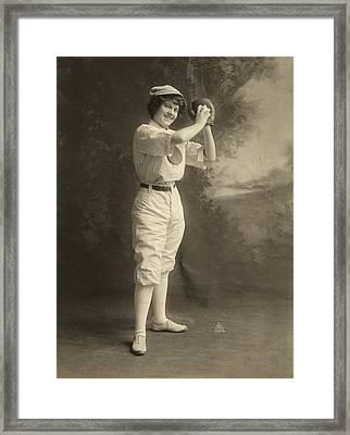 Female Baseball Player Framed Print by Granger