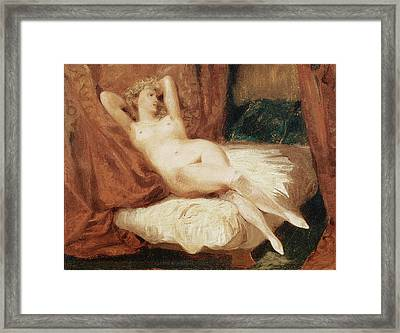 Female Nude Reclining On A Divan Framed Print by Eugene Delacroix