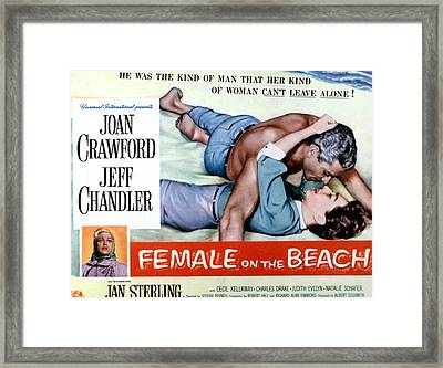 Female On The Beach, Jeff Chandler Framed Print by Everett