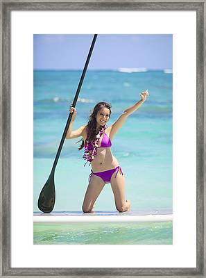Female Stand Up Paddler Framed Print by Tomas del Amo