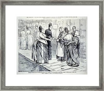 Female Suffrage In Kansas. Ladies Framed Print by Everett