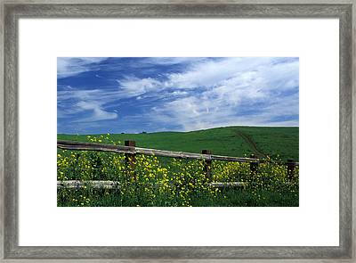 Fence And Flowers Framed Print by Kathy Yates