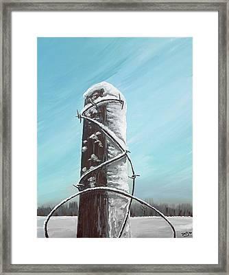 Fence Post In Winter Field Framed Print by David Junod