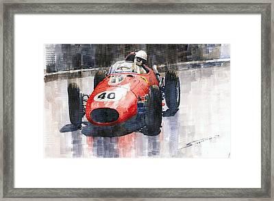 Ferrari Dino 246 F1 Monaco Gp 1958 Wolfgang Von Trips Framed Print by Yuriy  Shevchuk