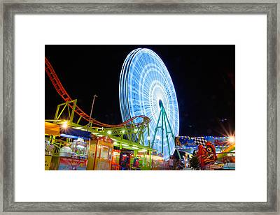 Ferris Wheel At Night Framed Print by Stelios Kleanthous