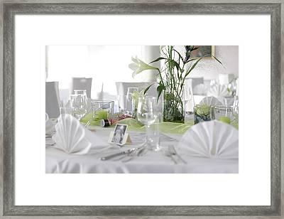 Festive Table In A Restaurant Framed Print by Stock4b-rf