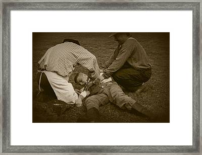 Field Repair Framed Print by David Dunham
