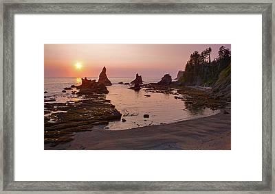 Fiery Coastline Framed Print by Mike Reid