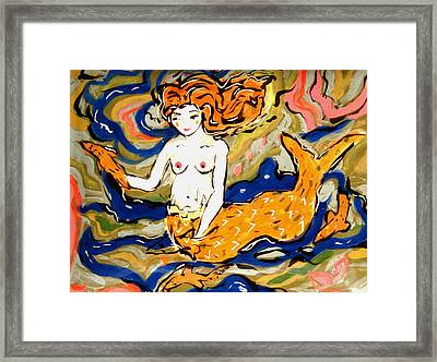 Fiery Mermaid Framed Print by Patricia Lazar