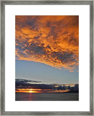 Fiery Sky At Sunset In Maui Framed Print by Kirsten Giving