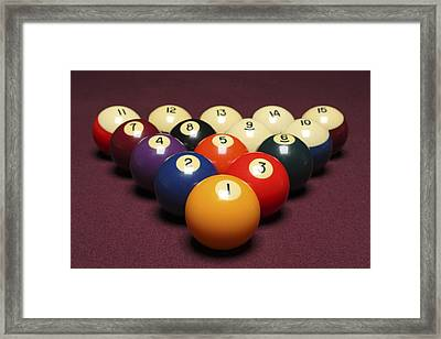 Fifteen Billiard Balls Arranged In Triangle On Pool Table Framed Print by Nathan Allred
