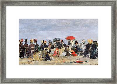 Figures On A Beach Framed Print by Eugene Louis Boudin