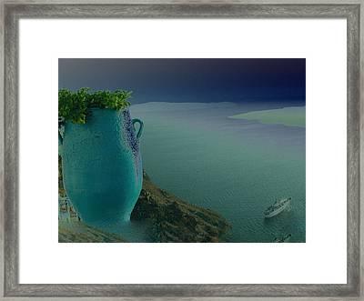 Fira View Santorini Greece Framed Print by Colette V Hera  Guggenheim