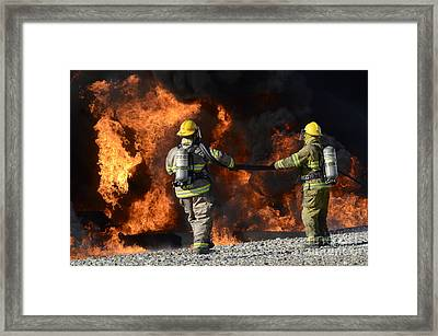 Firefighters In Action 3 Framed Print by Bob Christopher