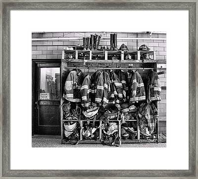 Fireman - Jackets Helmets And Boots Framed Print by Paul Ward
