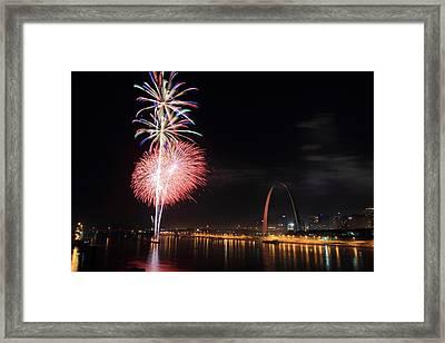 Fireworks From Eads Bridge In Saint Louis Framed Print by Scott Rackers