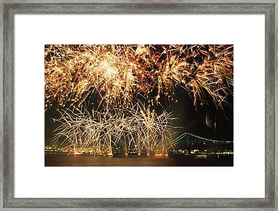 Fireworks Over Harbour Framed Print by Axiom Photographic