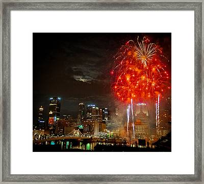 Fireworks Over Pittsburgh Framed Print by Richard Marquardt