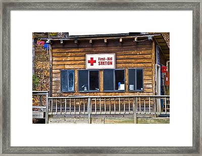 First Aid Station Framed Print by Susan Leggett