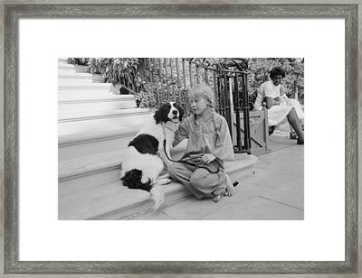First Daughter Amy Carter With Her Dog Framed Print by Everett